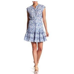 Rebecca Taylor Aimee Floral Silk Shirt Dress Blue